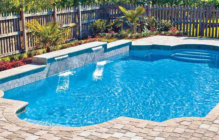 outdoor swimming pool with chlorinated water