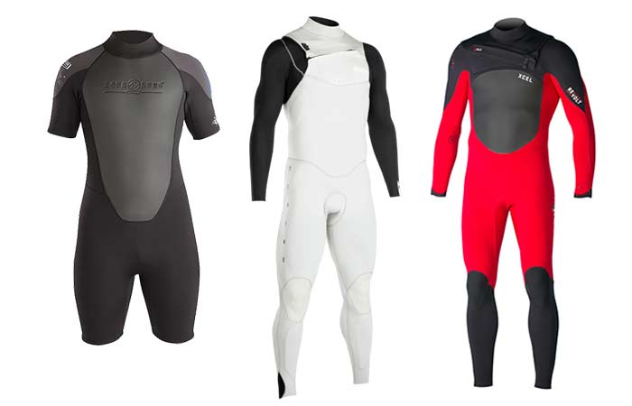 Red, Black-grey and white wetsuits