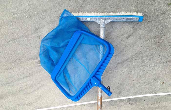 Skimmer net and brush