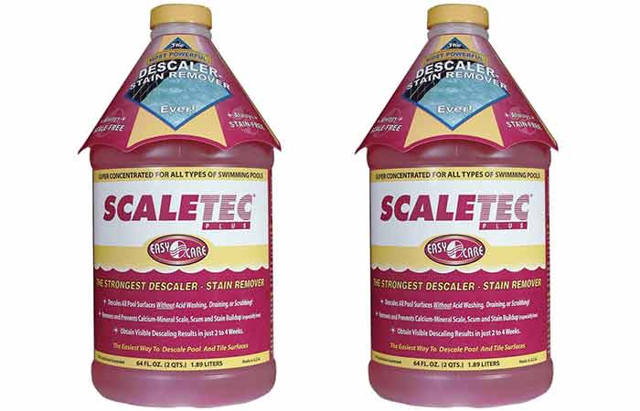 Descaler and stain remover for pools